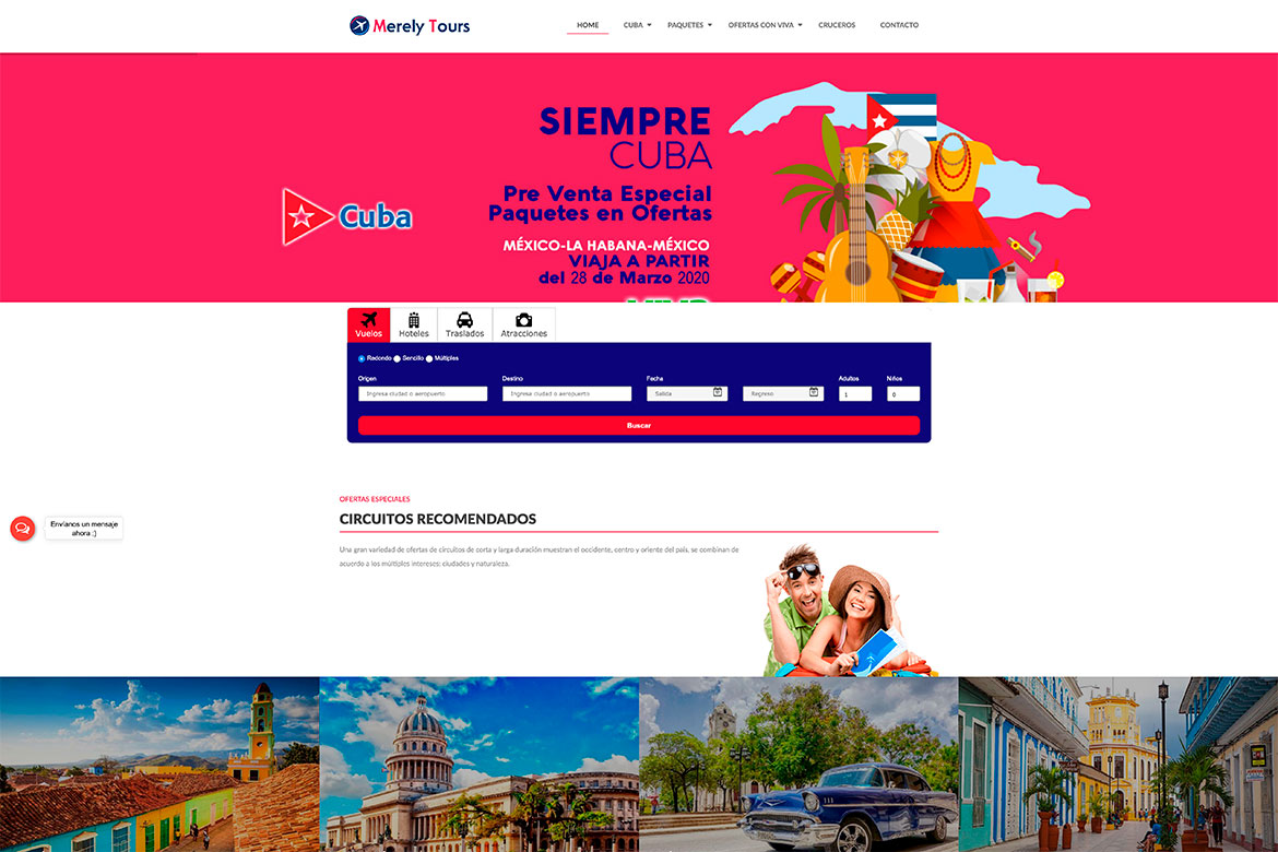 Diseño web administrable para agencias de viajes Merely Tours